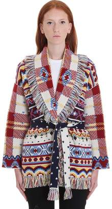 Alanui Cardigan In White Cashmere And Wool