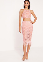Missguided Feather Hem Lace Midi Skirt Pink