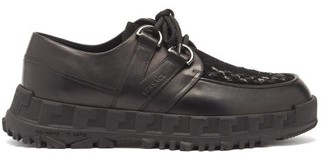 Versace Tread-sole Leather Derby Shoes - Black