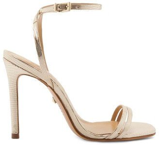 Schutz Altina Metallic Lizard-Embossed Leather Sandals
