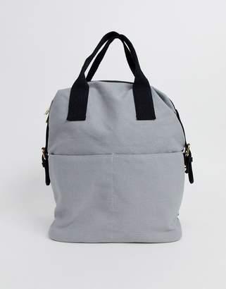 Asos Design DESIGN zip over canvas backpack with double handle-Grey