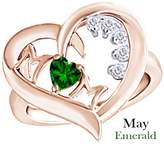 AFFY Simulated Green Emerald & Natural Diamond Mom Heart Promise Ring 925 Sterling Silver