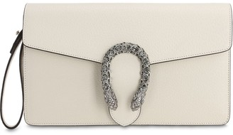Gucci DIONYSUS CRYSTAL BUCKLE LEATHER CLUTCH