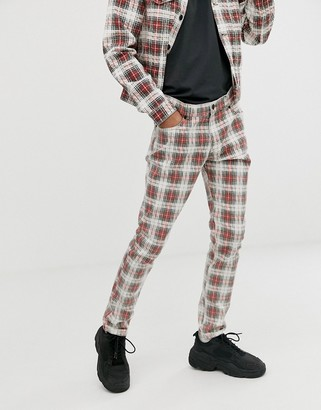 Cheap Monday Tight skinny jeans in red check