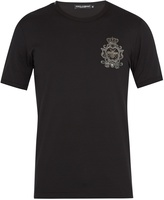 Dolce & Gabbana Crest-embroidered cotton T-shirt