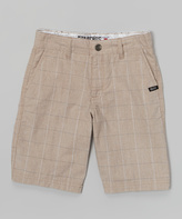 Micros Khaki Plaid Walk Shorts - Boys