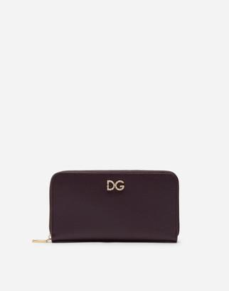 Dolce & Gabbana Zip Around Wallet With Rhinestones In Dauphine Calfskin