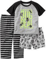 "Carter's Toddler Boy Kind Of A Bug Deal At Bedtime"" Graphic Tee, Bug-Print Shorts & Striped Pants Pajama Set"