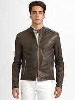 Armani Collezioni Lambskin Moto Jacket