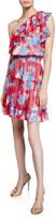 Shoshanna Kiya Kelaa Rose-Print One-Shoulder Smock-Waist Ruffle Dress