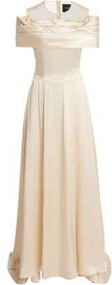 Simone Rocha Bow-Embellished Off-The-Shoulder Silk Gown