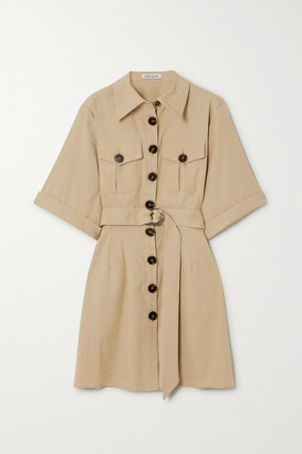 ANNA QUAN Robbie Belted Linen-blend Mini Shirt Dress - Sand