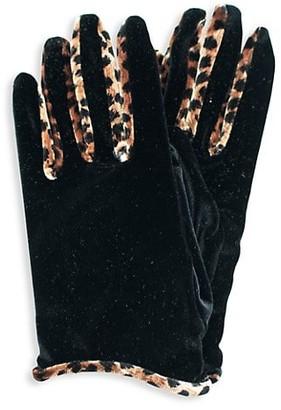 Portolano Velvet Animal-Print Gloves