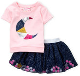 Flapdoodles Toddler Girls) Two-Piece Celestial Sequin Moon Top & Tulle Skort Set