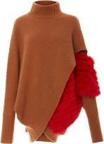 Sally LaPointe Airy Wrap Front Red Fox Sweater