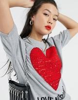 Love Moschino jewel studded heart logo knit t-shirt