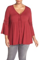 Bobeau Lace Inset Bell Sleeve Jersey Top (Plus Size)