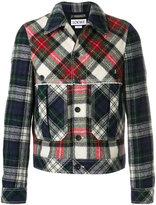 Loewe button jacket tartan patchwork