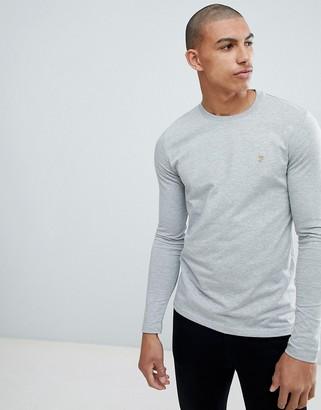 Farah Southall super slim fit logo long sleeve t-shirt in gray