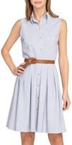 Tahari Petite Women's Sleeveless Seersucker Shirtdress
