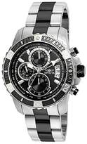 Invicta Pro Diver Men's Quartz Watch with Black Dial Chronograph Display and Silver Plated Stainless Steel Bracelet - 22416