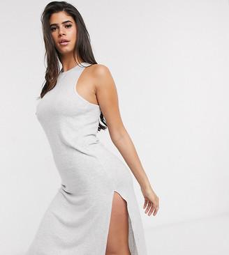 Loungeable soft knit lounge dress in grey stripe