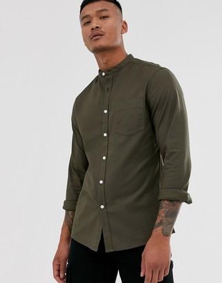 Asos Design DESIGN casual skinny oxford shirt in khaki with grandad collar-Green