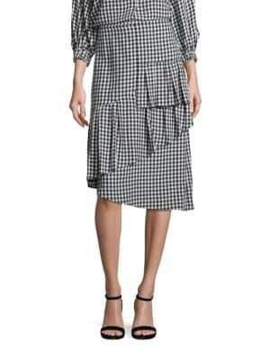 Tibi Gingham Ruffled Skirt