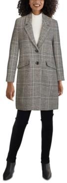Jones New York Plaid Reefer Coat