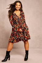 boohoo Recycled Floral Print Flute Sleeve Smock Dress