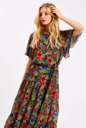 Traffic People Tropical Dress with Belt Tie - XS - Green/Black/Blue