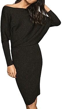 Reiss Vera Metallic Draped One-Shoulder Knit Dress
