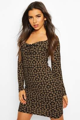 boohoo Floral Print Ruffle Detail Jersey Mini Dress