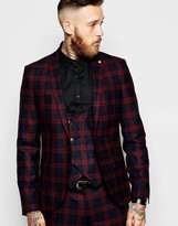 Noose & Monkey Tartan Suit Jacket With Stretch In Skinny Fit - Red