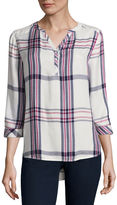 ST. JOHN'S BAY St. John's Bay Long Sleeve Fitted Sleeve Henley Shirt