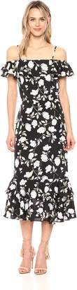 J.o.a. Women's Floral Printed Cold Shoulder Dress with Tiered Hem