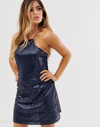 Club L London cut away sequin strappy back mini dress