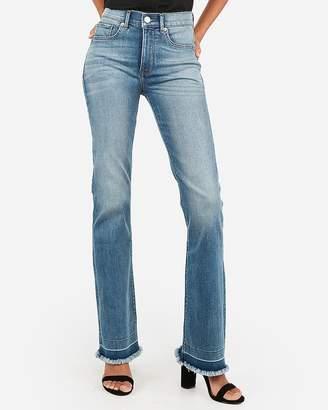 Express High Waisted Denim Perfect Frayed Hem Bootcut Jeans