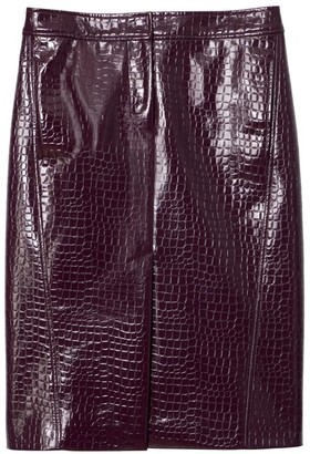 Tibi Croc-Embossed Patent Trouser Skirt