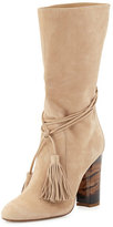 Burberry Winningham Suede Tassel Boot, Light Nude