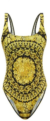 Versace Barocco-print Scoop-neck Swimsuit - Womens - Black Gold