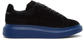Alexander McQueen SSENSE Exclusive Black and Blue Suede Oversized Sneakers