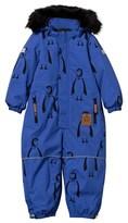 Mini Rodini Alaska Penguin Baby/Jr Overall Blue