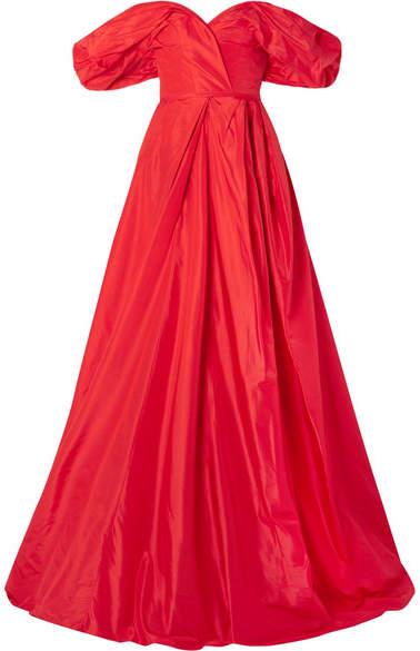 Carolina Herrera Off-the-shoulder Silk-taffeta Gown - Red