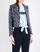 Claudie Pierlot Caprice floral-print leather biker jacket