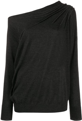 Brunello Cucinelli asymmetric brass-embellished top