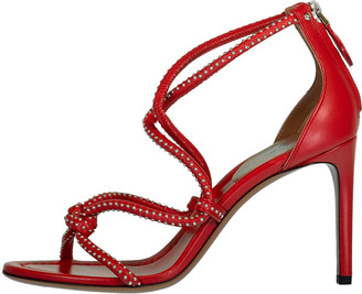 Alaia Red Strappy Stud Sandal