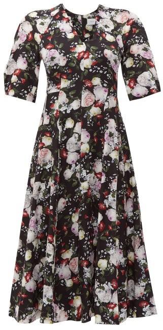 Erdem Cressida Clarence-print Silk Dress - Womens - Black Print