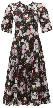 Erdem Cressida Clarence-print Silk Dress - Womens - Black Print