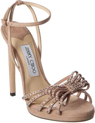Jimmy Choo Kaite 120 Ankle Strap Embellished Suede Sandal